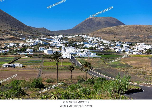 Spain, Canary Islands, Lanzarote, Village Maguez and Volcano Monte Corona