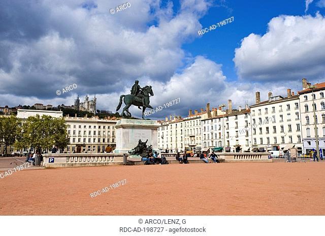Equestrian statue of Louis XIV, Place Bellecour, Lyon, Rhone, Rhone-Alpes, France