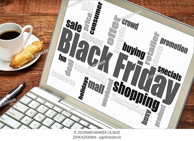 Black Friday shopping word cloud on a laprop computer with a cup of coffee