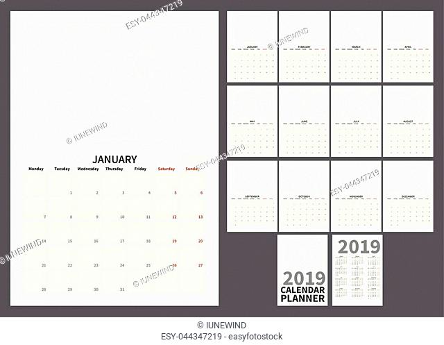 Calendar simple planner for 2019 year, A4 format, week start monday, vector print size pages set