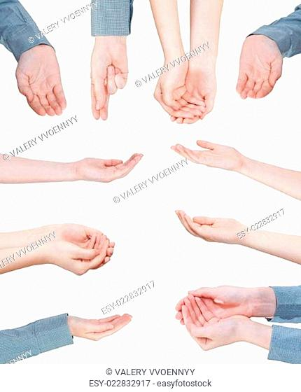 set of helping palms - hand gesture