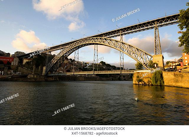 Ponte Dom Luis, Bridge in Porto, Portugal  Late afternoon sun