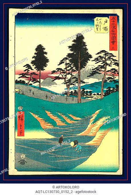 Totsuka, Ando, Hiroshige, 1797-1858, artist, [ca. 1855], 1 print : woodcut, color ; 36 x 24.7 cm., Print shows laborers in rice paddies in the foreground