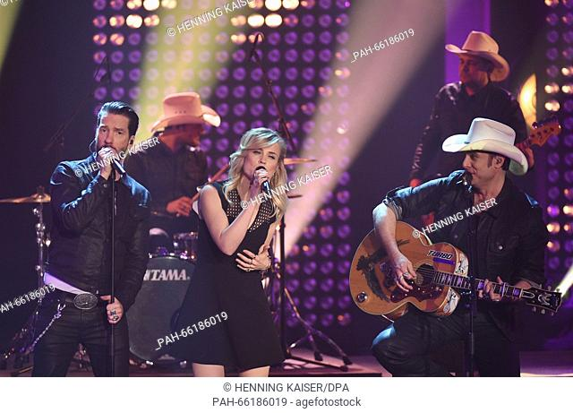 The Boss Hoss feat The Common Linnets with singer Anouk (Netherlands) compete during the national preliminary decision for the 61st Eurovision Song Contest...