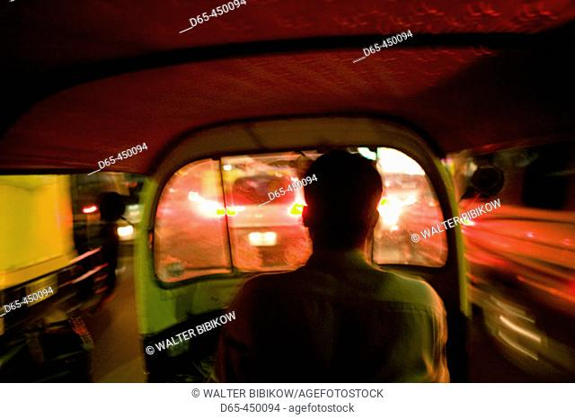 Evening Traffic from Autorickshaw Taxi. Passenger's View. Bangalore. Karnataka. India