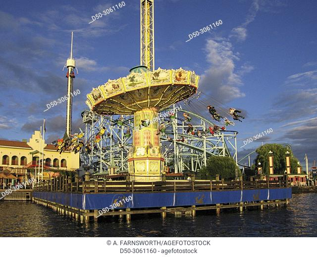 STOCKHOLM SWEDEN Swings at the capital city's own amusement park Grona Lund
