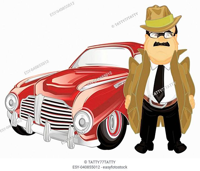 un happy detective with red retro car
