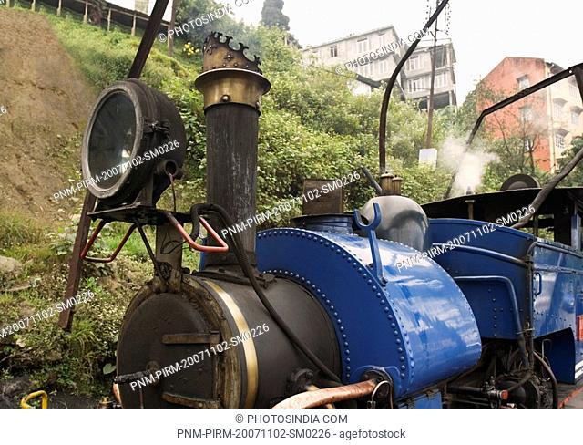 Close-up of a steam engine, Darjeeling Himalayan Railway, Darjeeling, West Bengal, India