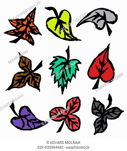 Illustration of grunge autumn leaves. Hand drawn. Isolated white background. EPS file available