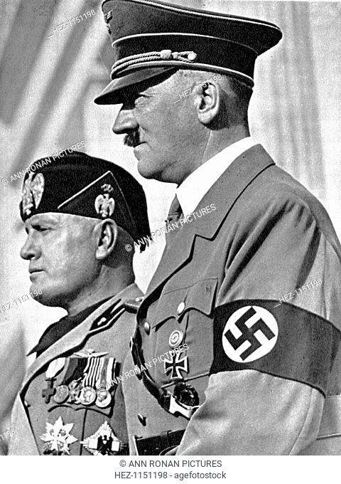 Adolph Hitler (1889-1945) and Benito Mussolini (1883-1945), German and Italian fascist dictators