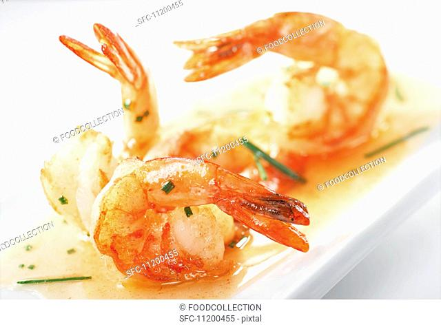 Prawns with honey and ginger sauce