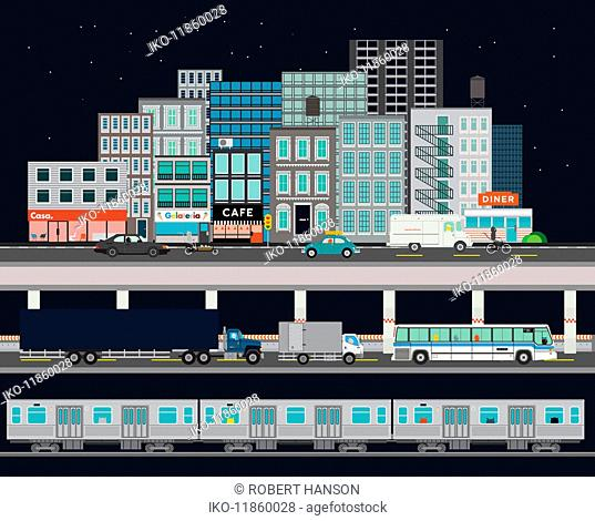 City street with various modes of transport