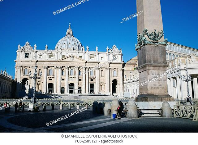 St Peter's Square and Basilica in Vatican in Rome, Italy