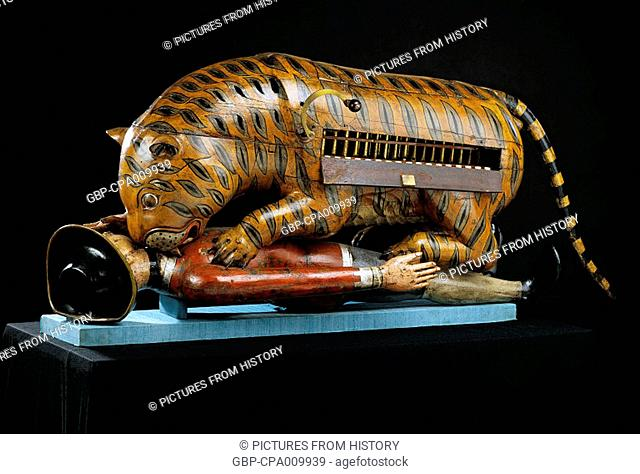 India: Tipu Sultan's mechanical tiger mauling a British soldier, Mysore, c. 1790