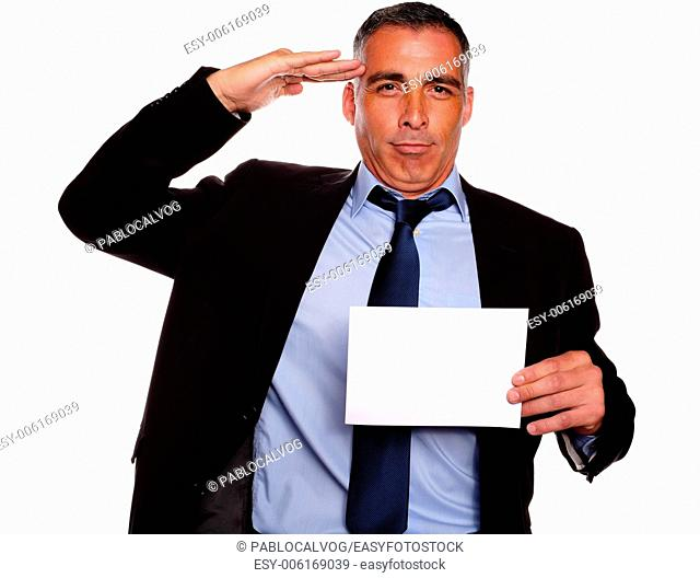 Portrait of a professional friendly senior executive greeting and holding a white card with copyspace against white background