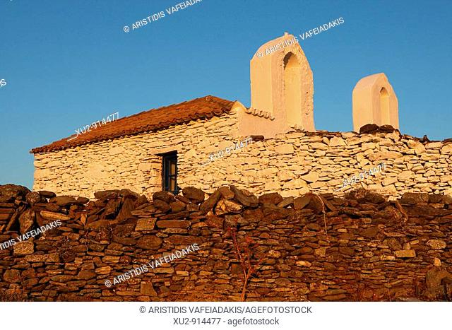 Kythnos island Greece  Picturesque chapels in the Cycladic group of islands have been built by locals and lying there for hundreds of years