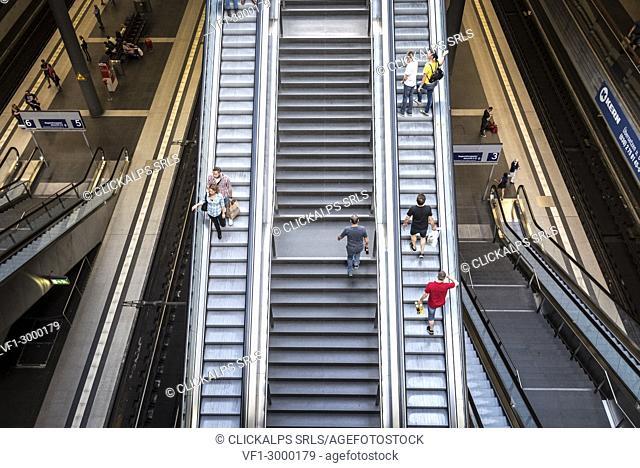 The escalator inside the Berlin Hauptbahnhof station, Berlin, Germany, Europe