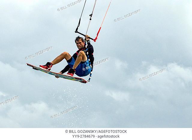 Professional Kitesurfer Ben Jopling at Veterans Memorial Park - Little Duck Key, Florida, USA