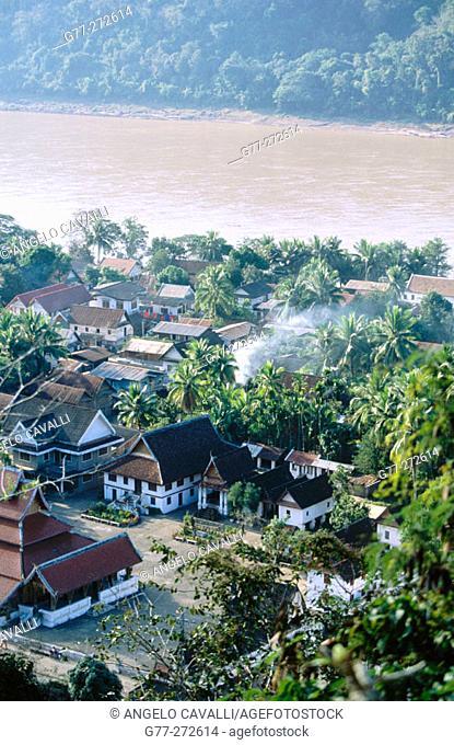 Mekong River and city view. Luang Prabang. Laos
