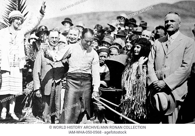 Mary Pickford and Douglas Fairbanks dedicate a new link of the Pacific Highway. The crowned heads of Hollywood, always called out to officiate at cornerstone...