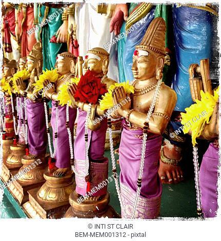 Ornate Buddha statues on Sri Mahamariamman temple, Kuala Lumpur, Malaysia