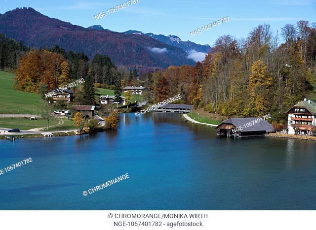 Lake Koenigssee, Schoenau am Koenigssee, Berchtesgaden Nation Park, Berchtesgadener Land, Upper Bavaria, Bavaria, Germany, Europe