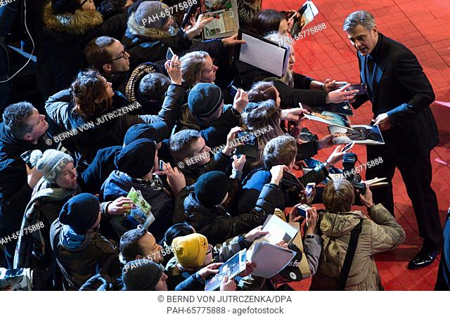 66th International Film Festival in Berlin, Germany, 11 February 2016. Opening gala and film premiere -Hail Ceasar!-: George Clooney