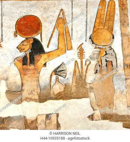 Painting of the ancient egyptian lion-headed goddess Sekhmet, the powerful one, accompanied by her consort Ptah