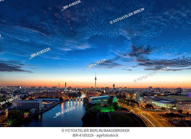 City center at sunset, Berlin, Germany