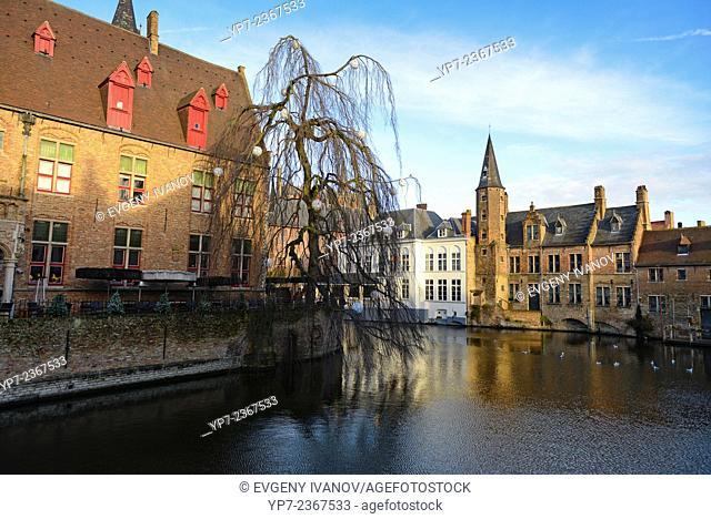 Dijver river canal near Rozenhoedkaai area, Brugge, Belgium