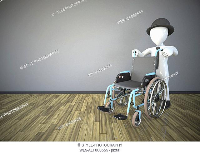 Illustration, Manikin with a wheelchair