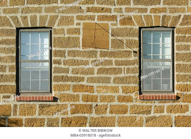 usa, Iowa, Amana colonies, west - Amana house-wall sundial, close-up