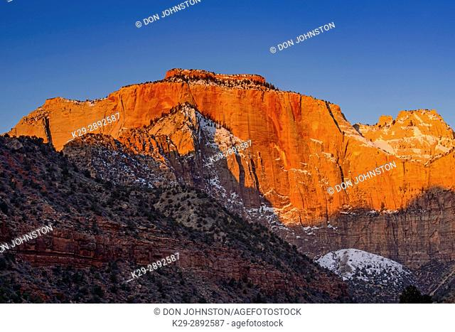 Dawn light on the Towers of the Virgin, Zion National Park, Utah, USA