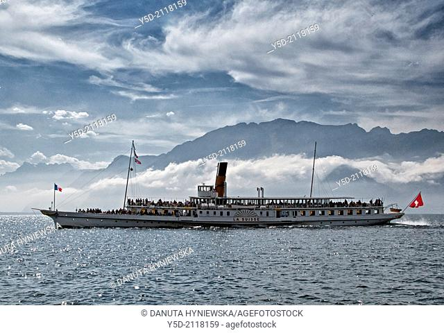 historic steamboat cruise, Lake Geneva, Lac Leman, Swiss Riviera, Switzerland, French Alps in the background
