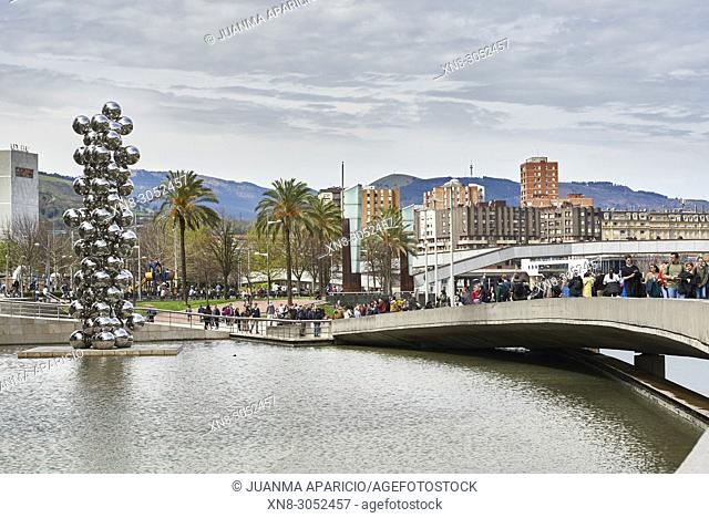 Tall Tree & The Eye, sculpture by Anish Kapoor, Guggenheim Museum, Iberdrola Tower at the Background, Abandoibarra, Bilbao, Biscay, Basque Country, Euskadi