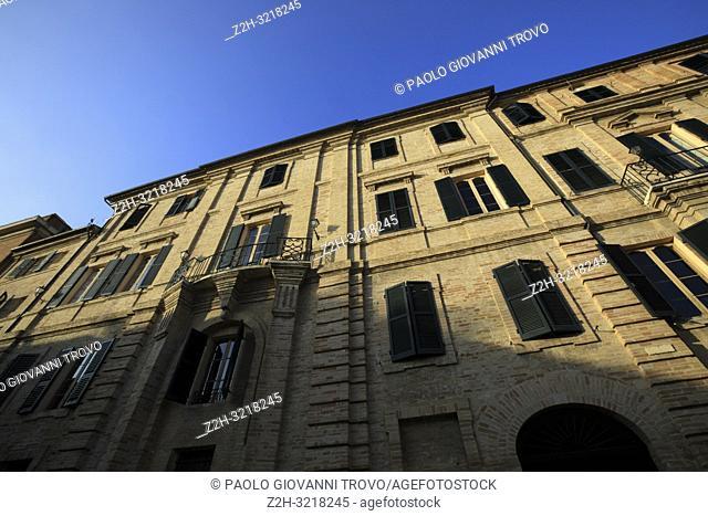 The home and birthplace of Count Giacomo Leopardi, Italian poet, essayist, and philologist, in Recanati village, Recanati, Macerata, Marche, Italy