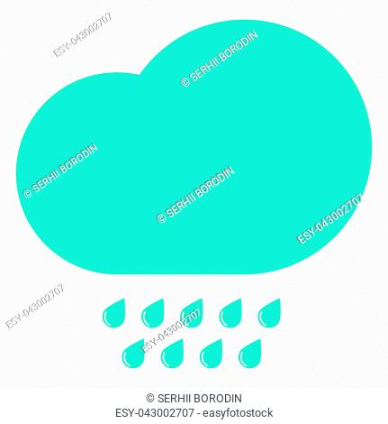 Clouds with the drops blue icon black color vector illustration isolated