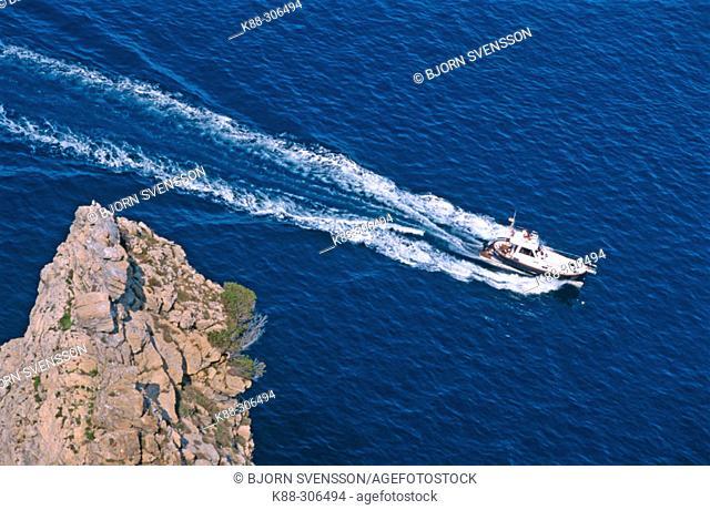 Boat, Cap de Creus Natural Park, Costa Brava. Girona province, Spain