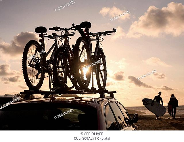 Bicycles on top of car roof