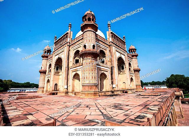 Safdarjung's Tomb is a garden tomb in a marble mausoleum in Delhi, India