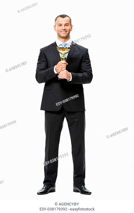 Full-length portrait of businessman with cup, isolated on white. Concept of leadership and success