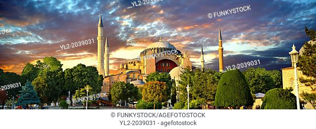 The exterior of the 6th century Byzantine (Eastern Roman) Hagia Sophia ( Ayasofya ) built by Emperor Justinian. The size of the dome was un-surpassed until the...