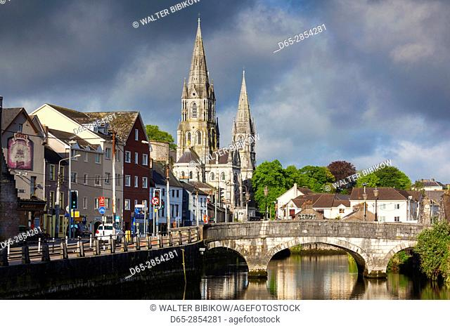 Ireland, County Cork, Cork City, St. Fin Barre's Cathedral, 19th century, from the River Lee, morning