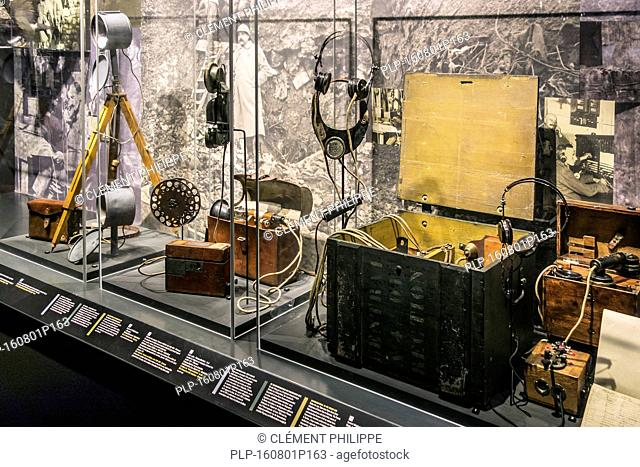 Communications devices on display in the Mémorial de Verdun, museum and war memorial to commemorate the World War One 1916 Battle of Verdun, France