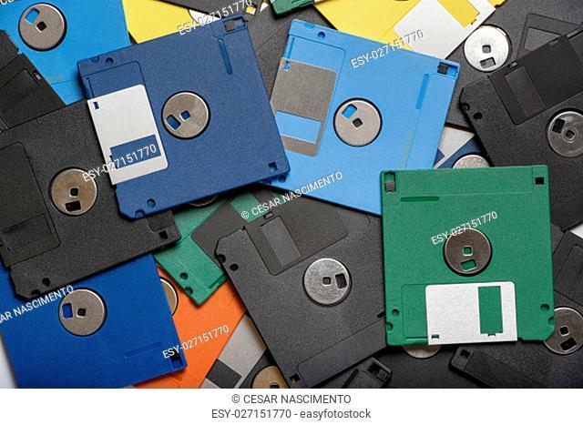 Pile of color floppy disks