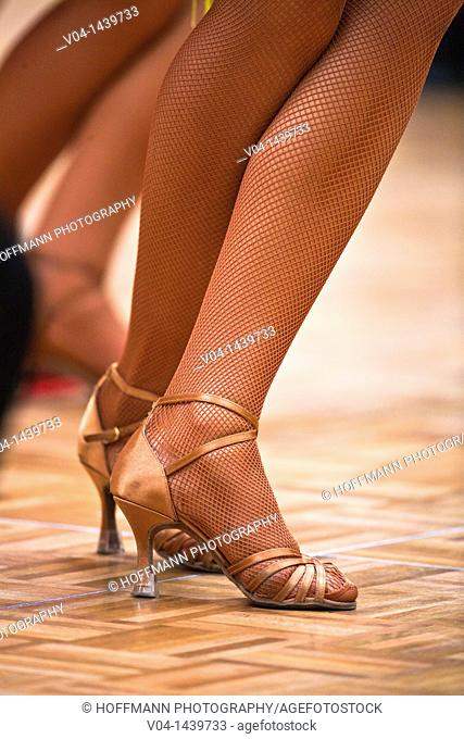 Close up of the legs of a female dancer at a dancing competition, Germany, Europe
