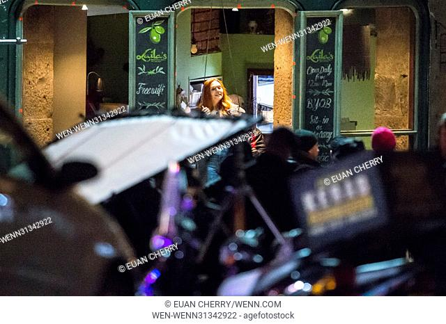 Elizabeth Olsen (Scarlett Witch) is spotted on set in Edinburgh as the first unit film for The Avengers: Infinity War. Featuring: Elizabeth Olsen Where:...