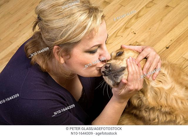 Blonde woman with her dog