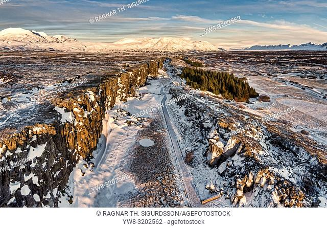 Winter, Almannagja fissure, Thingvellir National Park, Iceland