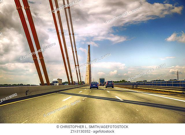 Bridge over the Ruhr on A-40 autobahn near Duisburg in Germany